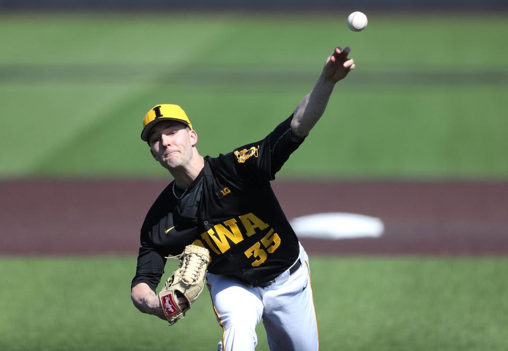 Iowa Hawkeyes Cam Baumann (35) against California State Northridge Sunday, March 17, 2019 at Duane Banks Field. (Brian Ray/hawkeyesports.com)