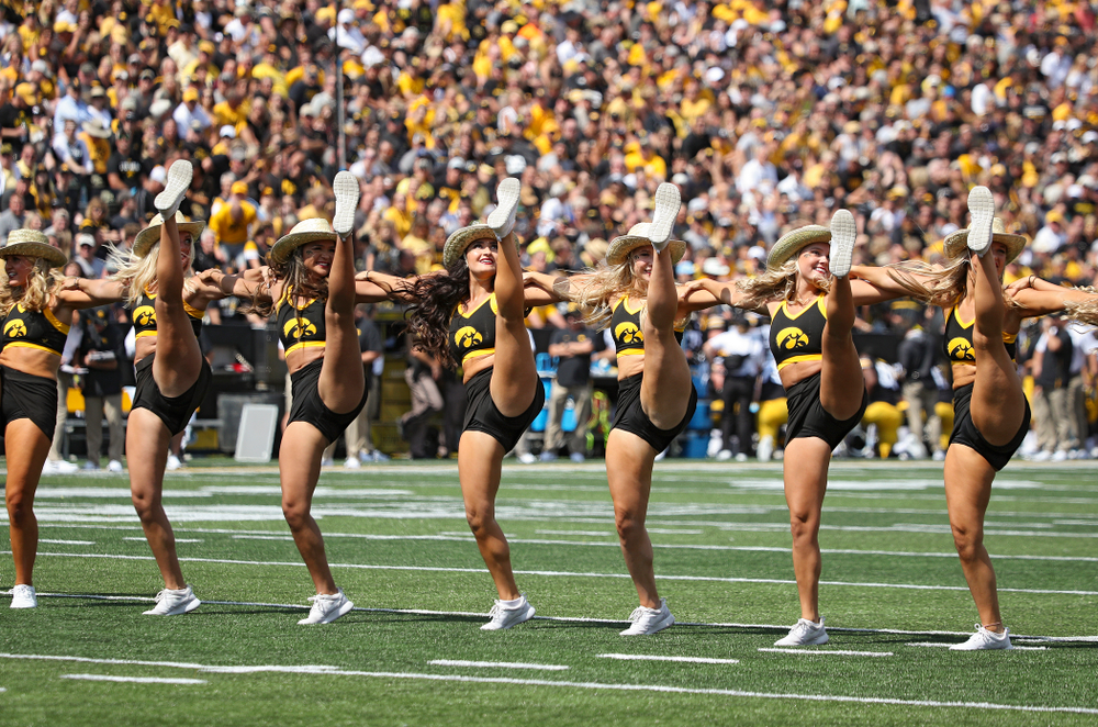 The Iowa Dance team performs during the third quarter of their Big Ten Conference football game at Kinnick Stadium in Iowa City on Saturday, Sep 7, 2019. (Stephen Mally/hawkeyesports.com)