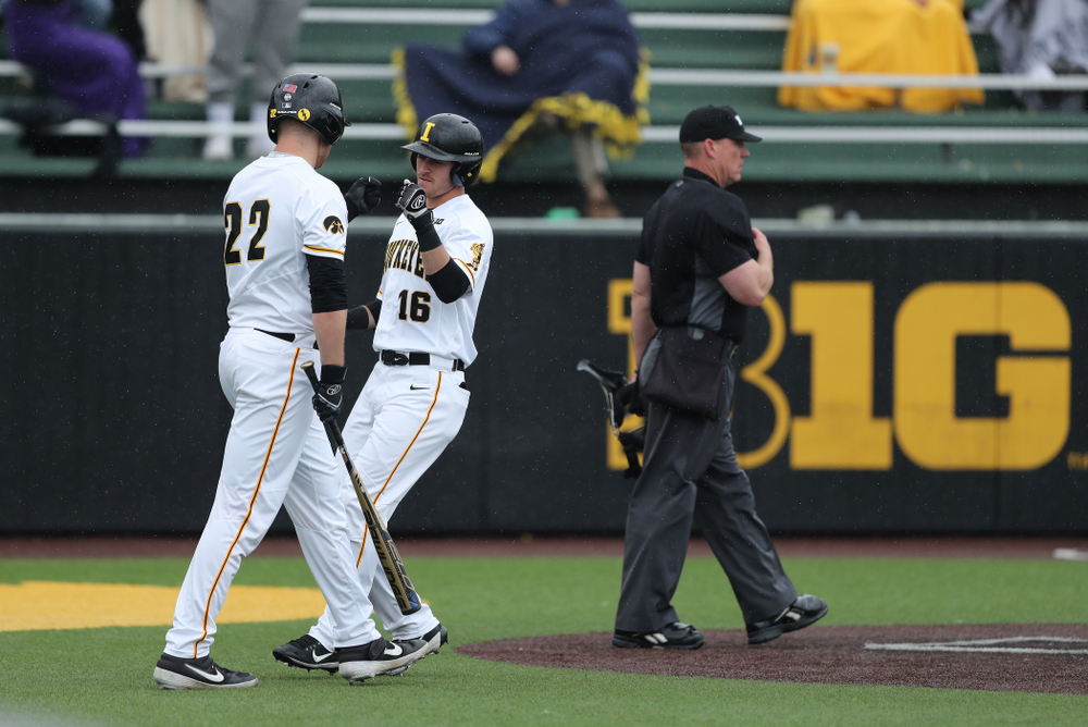 Iowa Hawkeyes Tanner Wetrich (16) and Tanner Padgett (22) against Michigan State Sunday, May 12, 2019 at Duane Banks Field. (Brian Ray/hawkeyesports.com)