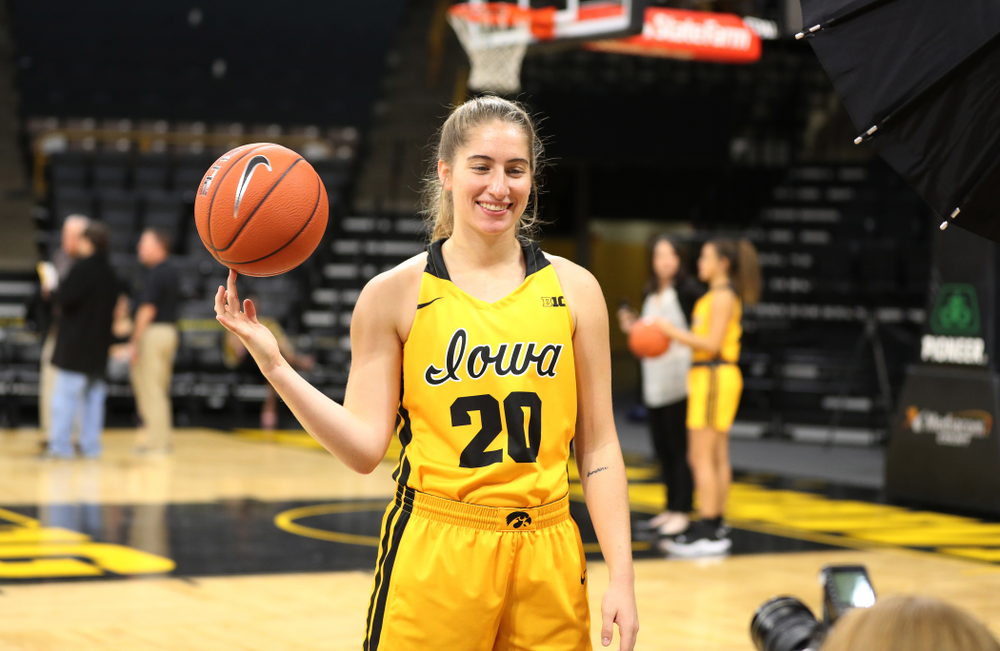 Iowa Hawkeyes guard Kate Martin (20) during the teamÕs annual media day Thursday, October 24, 2019 at Carver-Hawkeye Arena. (Brian Ray/hawkeyesports.com)