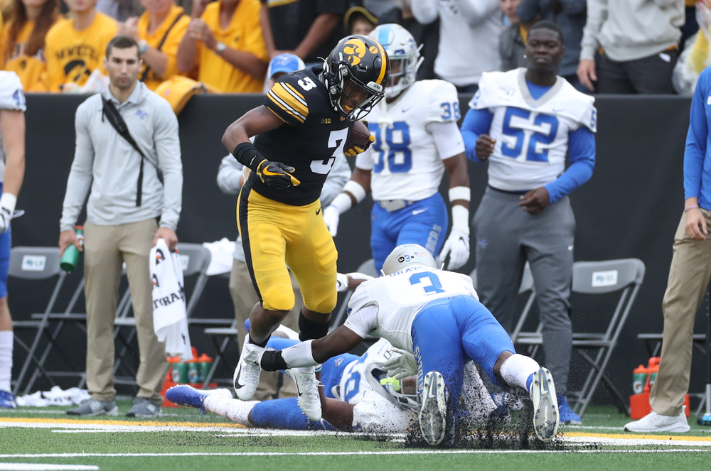 Iowa Hawkeyes wide receiver Tyrone Tracy Jr. (3) against Middle Tennessee State Saturday, September 28, 2019 at Kinnick Stadium. (Max Allen/hawkeyesports.com)