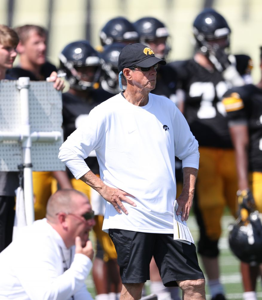 Iowa Hawkeyes quarterbacks coach Ken O'Keefe during Fall Camp Practice No. 5 Tuesday, August 6, 2019 at the Ronald D. and Margaret L. Kenyon Football Practice Facility. (Brian Ray/hawkeyesports.com)