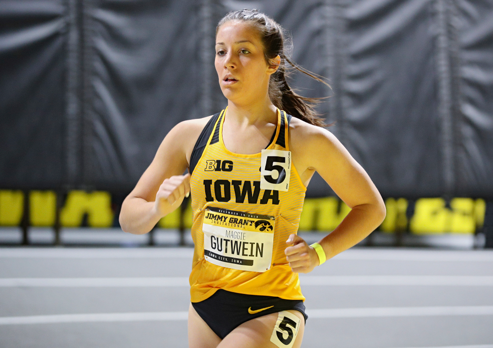 Iowa's Maggie Gutwein runs the women's 1 mile run event during the Jimmy Grant Invitational at the Recreation Building in Iowa City on Saturday, December 14, 2019. (Stephen Mally/hawkeyesports.com)