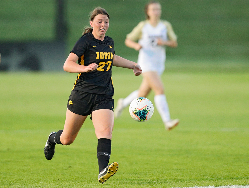 Iowa forward Samantha Tawharu (27) chases down the ball during the first half of their match against Western Michigan at the Iowa Soccer Complex in Iowa City on Thursday, Aug 22, 2019. (Stephen Mally/hawkeyesports.com)