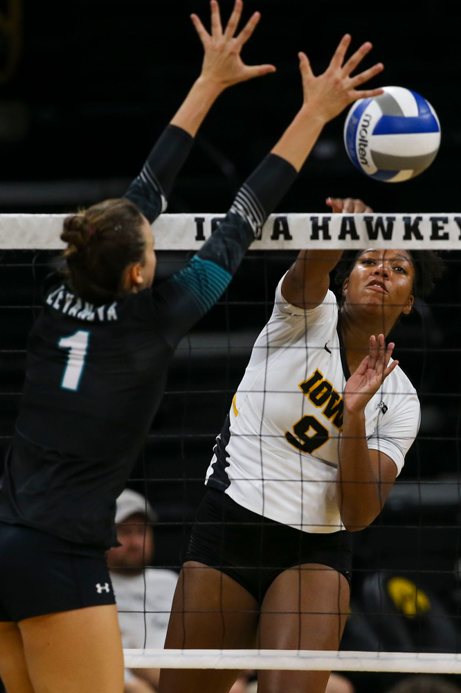 Iowa Hawkeyes middle blocker Amiya Jones (9) against Coastal Carolina Friday, September 20, 2019 at Carver-Hawkeye Arena. (Lily Smith/hawkeyesports.com)