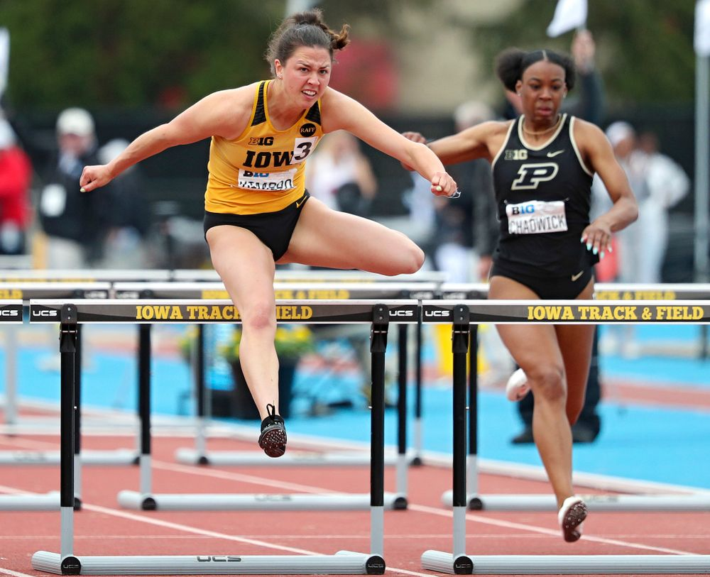 Iowa's Jenny Kimbro runs the women's 100 meter hurdles event on the third day of the Big Ten Outdoor Track and Field Championships at Francis X. Cretzmeyer Track in Iowa City on Sunday, May. 12, 2019. (Stephen Mally/hawkeyesports.com)
