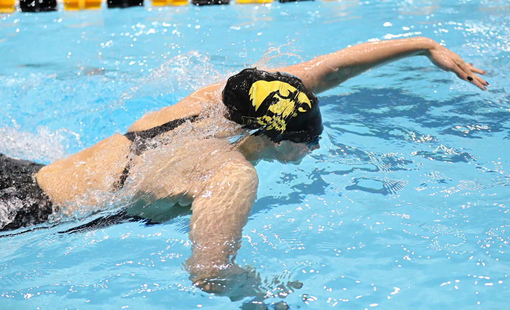 Iowa's Hannah Burvill swims the women's 400 yard freestyle relay event during the 2020 Women's Big Ten Swimming and Diving Championships at the Campus Recreation and Wellness Center in Iowa City on Saturday, February 22, 2020. (Stephen Mally/hawkeyesports.com)