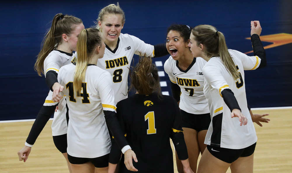 Iowa Hawkeyes setter Brie Orr (7) celebrates after winning a point during a match against Penn State at Carver-Hawkeye Arena on November 3, 2018. (Tork Mason/hawkeyesports.com)