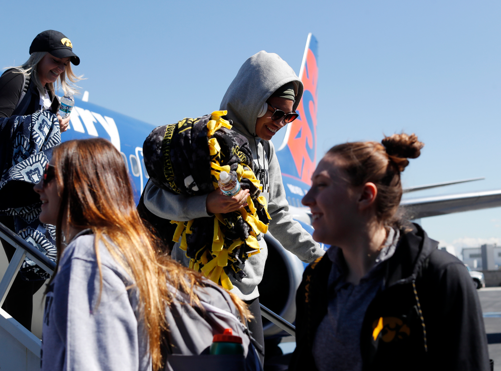 Iowa Hawkeyes forward Chase Coley (4) as they arrive in Los Angeles for the first round of the 2018 NCAA Tournament Thursday, March 15, 2018 at LAX. (Brian Ray/hawkeyesports.com)