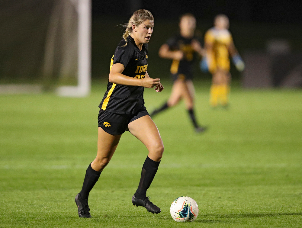 Iowa forward Gianna Gourley (32) moves with the ball during the second half of their match against Illinois at the Iowa Soccer Complex in Iowa City on Thursday, Sep 26, 2019. (Stephen Mally/hawkeyesports.com)