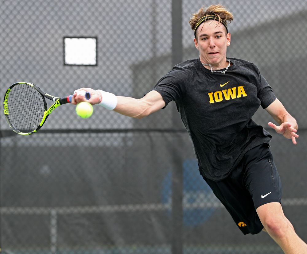 Iowa's Nikita Snezhko competes during a double match against Ohio State at the Hawkeye Tennis and Recreation Complex in Iowa City on Sunday, Apr. 7, 2019. (Stephen Mally/hawkeyesports.com)