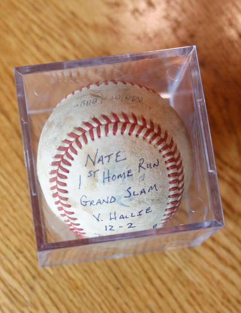 The ball from Iowa Hawkeyes quarterback Nathan Stanley's first home run as a kid Wednesday, May 30, 2018 in Menomonie, Wisc. (Brian Ray/hawkeyesports.com)