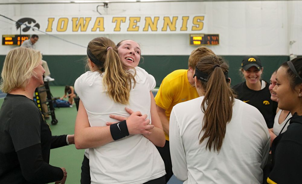 Iowa's Samantha Mannix celebrates after winning her singles match at the Hawkeye Tennis and Recreation Complex in Iowa City on Sunday, February 23, 2020. (Stephen Mally/hawkeyesports.com)