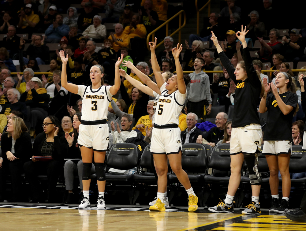 Iowa Hawkeyes guard Makenzie Meyer (3), guard Alexis Sevillian (5), and guard Kate Martin (20) against Penn State Saturday, February 22, 2020 at Carver-Hawkeye Arena. (Brian Ray/hawkeyesports.com)