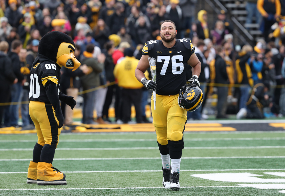 Iowa Hawkeyes offensive lineman Dalton Ferguson (76) during senior day activities before their game against the Nebraska Cornhuskers Friday, November 23, 2018 at Kinnick Stadium. (Brian Ray/hawkeyesports.com)