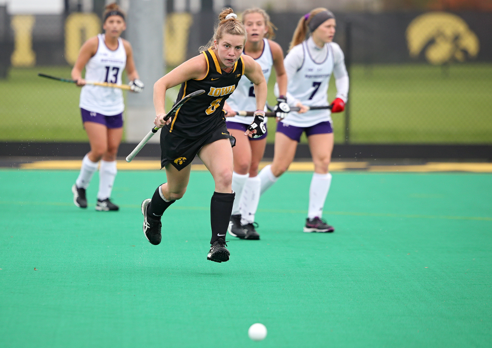 Iowa's Nikki Freeman (8) eyes the ball as she tries to run it down during the second quarter of their game at Grant Field in Iowa City on Saturday, Oct 26, 2019. (Stephen Mally/hawkeyesports.com)