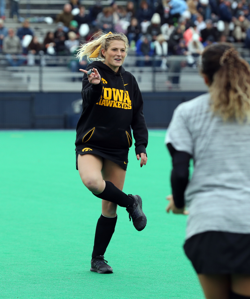 Iowa Hawkeyes Ellie Holley (7) warms up for their game against Penn State in the 2019 Big Ten Field Hockey Tournament Championship Game Sunday, November 10, 2019 in State College. (Brian Ray/hawkeyesports.com)