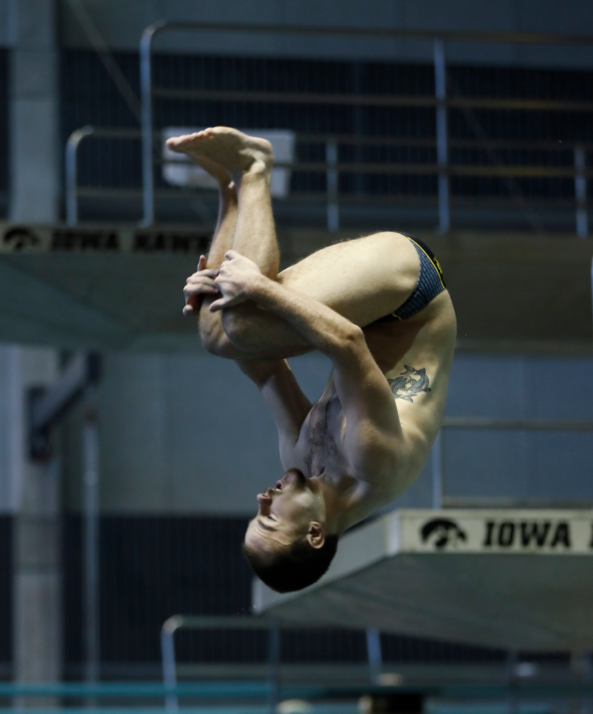 Saturday, January 13, 2018 (Brian Ray/hawkeyesports.com)Iowa's Anton Hoherz competes on the one meter springboard