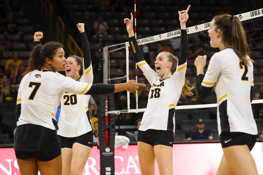 Iowa Hawkeyes setter Brie Orr (7), Iowa Hawkeyes outside hitter Edina Schmidt (20), Iowa Hawkeyes middle blocker Hannah Clayton (18) and Iowa Hawkeyes setter Courtney Buzzerio (2) against Coastal Carolina Friday, September 20, 2019 at Carver-Hawkeye Arena. (Lily Smith/hawkeyesports.com)
