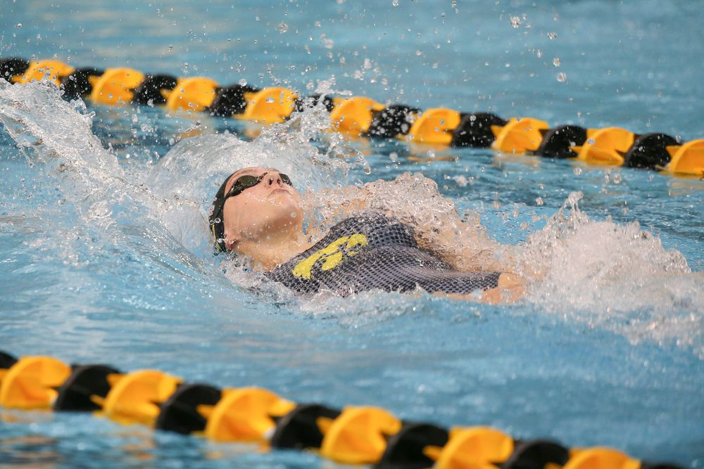 Iowa's Emilia Sansome swims the 100-yard backstroke during the Iowa swimming and diving meet vs Notre Dame and Illinois on Saturday, January 11, 2020 at the Campus Recreation and Wellness Center. (Lily Smith/hawkeyesports.com)