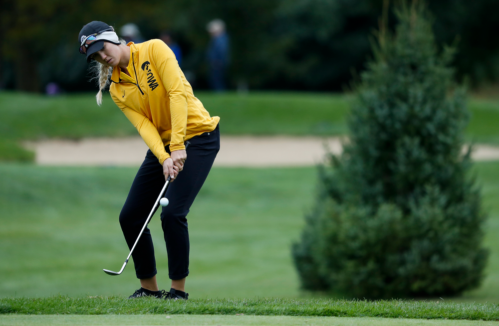 Iowa's Shawn Rennegarbe chips onto the green during the Diane Thomason Invitational at Finkbine Golf Course on September 29, 2018. (Tork Mason/hawkeyesports.com)