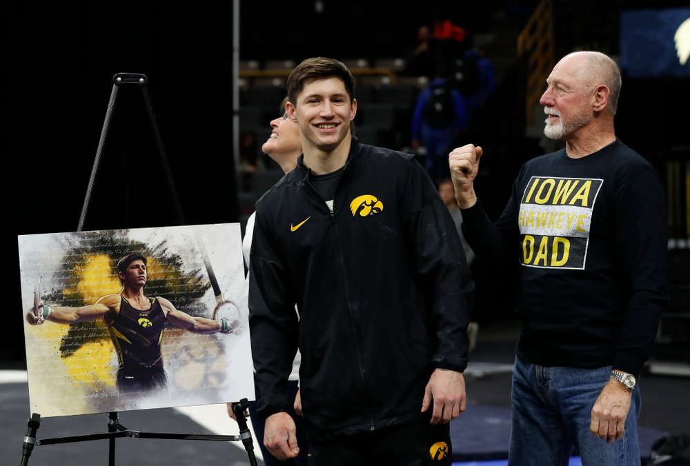 Iowa's Mark Springett and his family during senior day activities