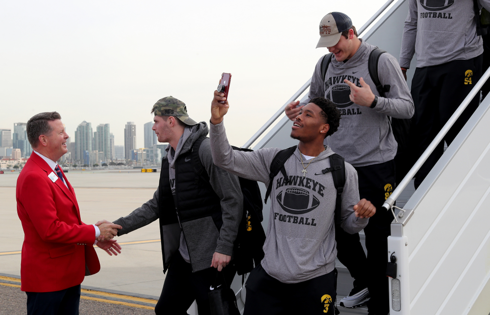 Iowa Hawkeyes wide receiver Tyrone Tracy Jr. (3) after arriving in San Diego, CA Saturday, December 21, 2019 for the Holiday Bowl. (Brian Ray/hawkeyesports.com)