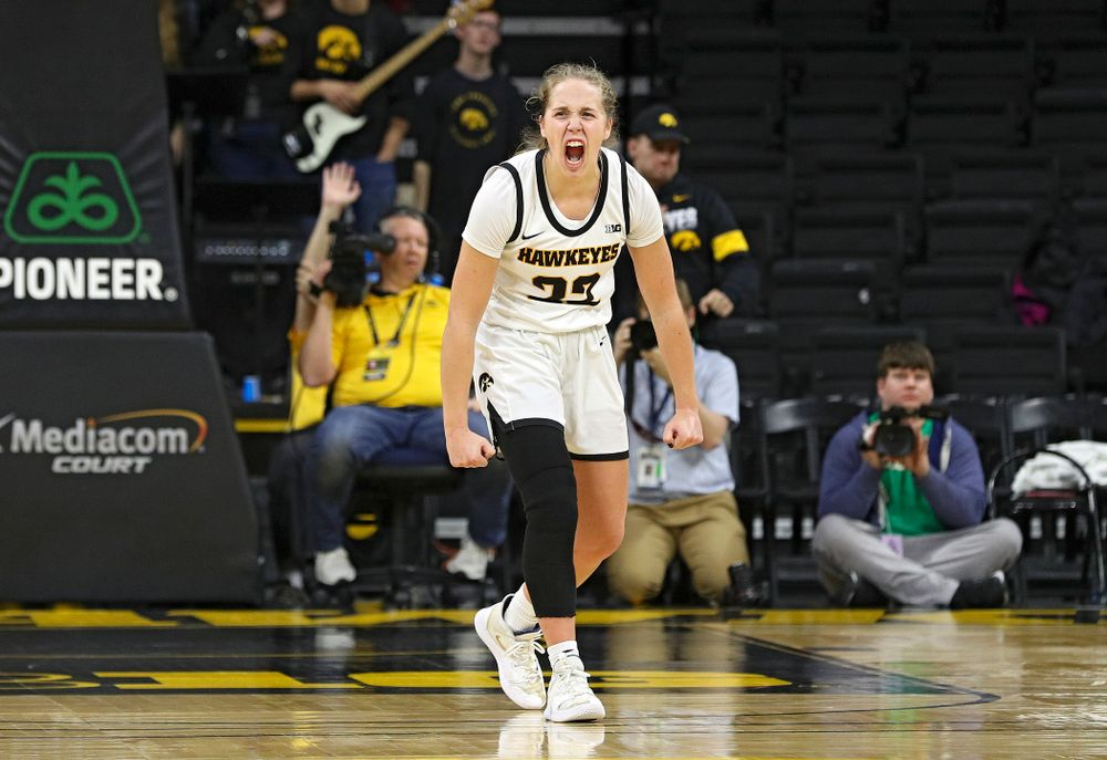 Iowa Hawkeyes guard Kathleen Doyle (22) is pumped up in the closing seconds of the second overtime period of their game at Carver-Hawkeye Arena in Iowa City on Sunday, January 12, 2020. (Stephen Mally/hawkeyesports.com)