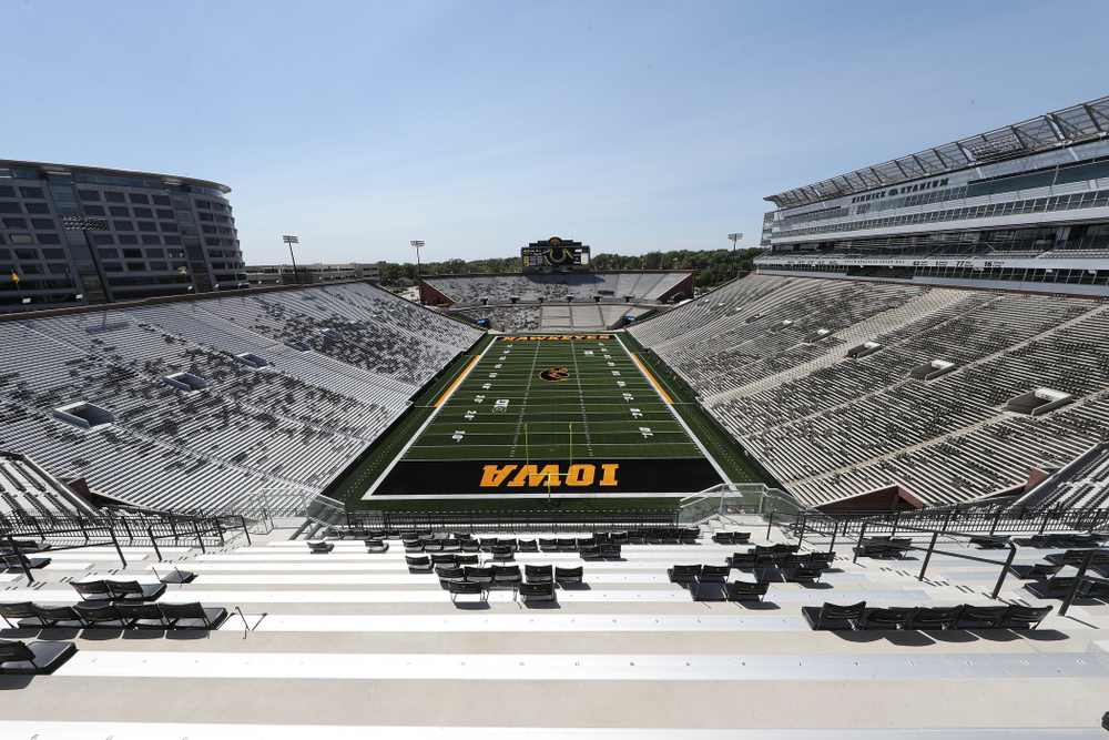 The view from the third level in the new north end zone of Kinnick Stadium Friday, August 9, 2019. (Brian Ray/hawkeyesports.com)