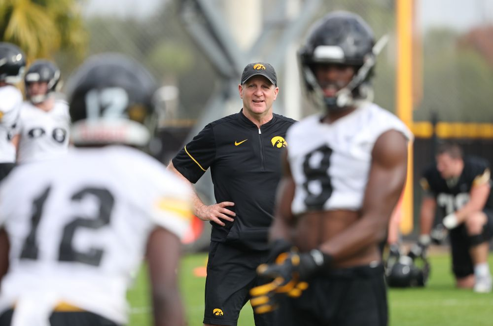 Iowa Hawkeyes defensive coordinator Phil Parker during practice for the 2019 Outback Bowl Friday, December 28, 2018 at the University of Tampa. (Brian Ray/hawkeyesports.com)