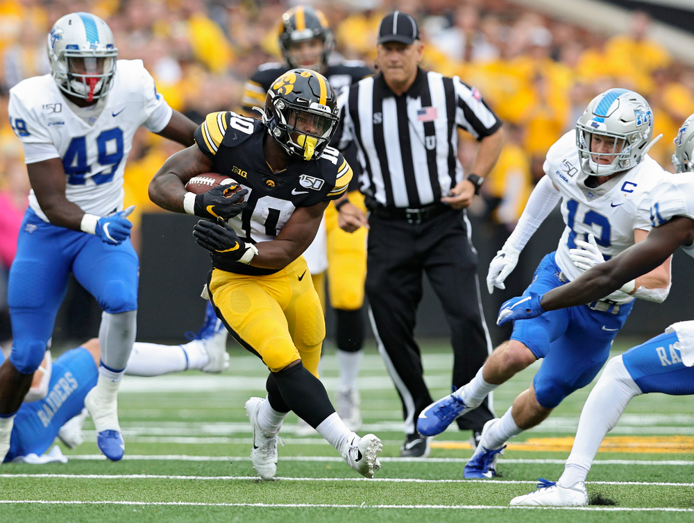Iowa Hawkeyes running back Mekhi Sargent (10) on a run during the first quarter of their game at Kinnick Stadium in Iowa City on Saturday, Sep 28, 2019. (Stephen Mally/hawkeyesports.com)