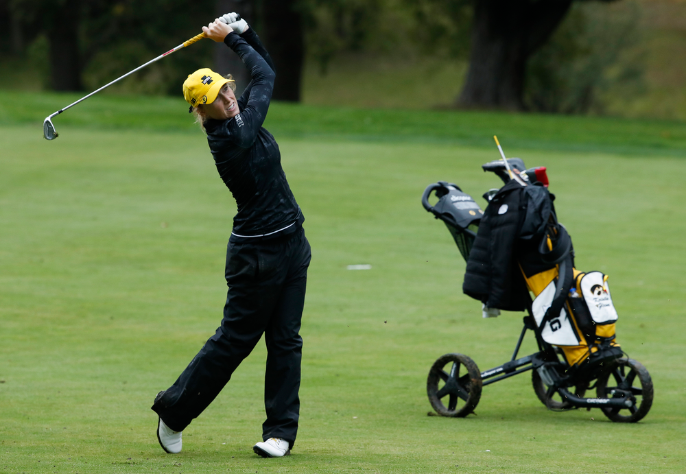 Iowa's Kristin Glesne hits an approach shot during the final round of the Diane Thomason Invitational at Finkbine Golf Course on September 30, 2018. (Tork Mason/hawkeyesports.com)