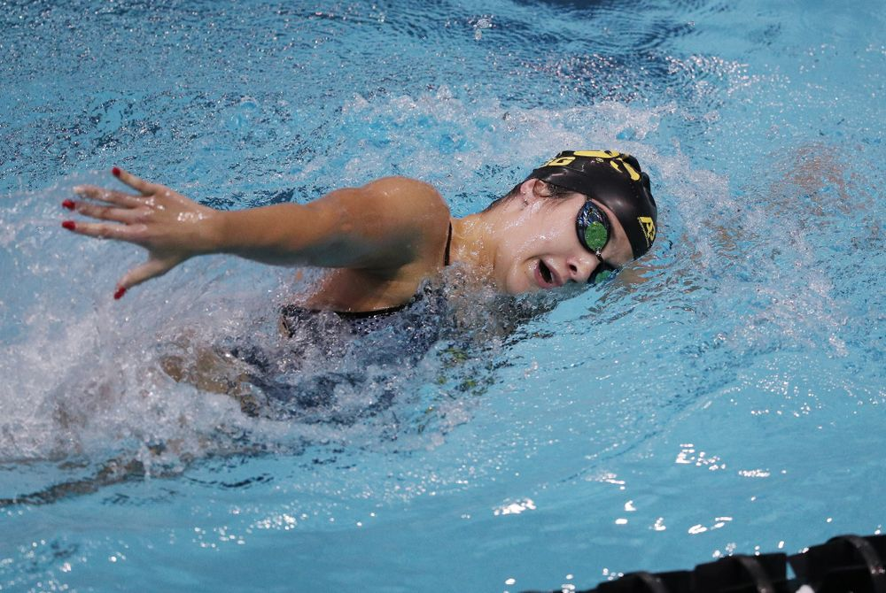 IowaÕs Helena Blumenau competes in the 1000-yard freestyle against Notre Dame and Illinois Saturday, January 11, 2020 at the Campus Recreation and Wellness Center.  (Brian Ray/hawkeyesports.com)