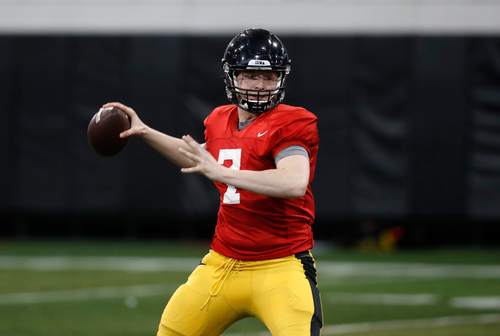 Iowa Hawkeyes quarterback Spencer Petras during spring practice No. 13 Wednesday, April 18, 2018 at the Hansen Football Performance Center. (Brian Ray/hawkeyesports.com)