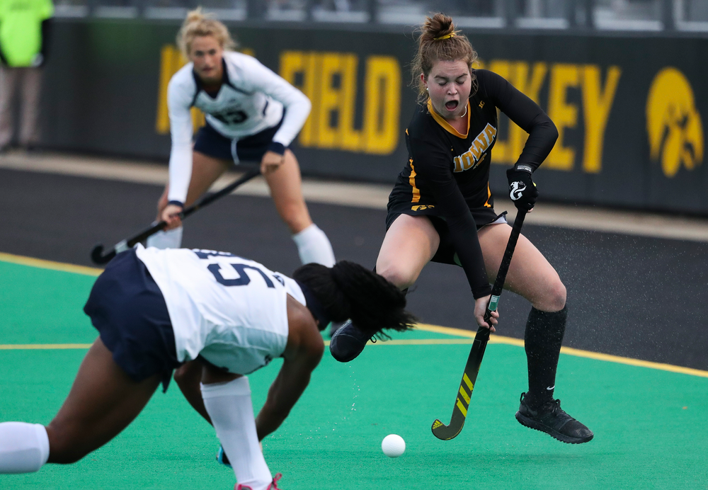 Iowa Hawkeyes midfielder Meghan Conroy (5) defends during a game against No. 6 Penn State at Grant Field on October 12, 2018. (Tork Mason/hawkeyesports.com)