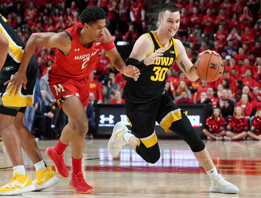 Iowa Hawkeyes guard Connor McCaffery (30) drives with the ball during their game at the Xfinity Center in College Park, MD on Thursday, January 30, 2020. (University of Maryland Athletics)