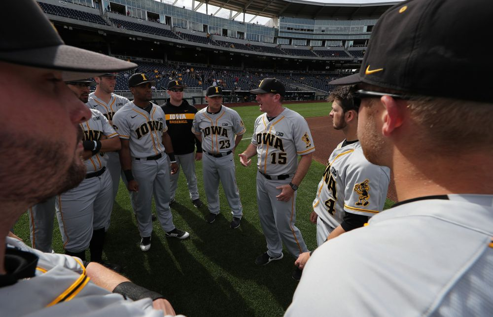 Iowa Hawkeyes associate head coach Marty Sutherland against the Indiana Hoosiers in the first round of the Big Ten Baseball Tournament Wednesday, May 22, 2019 at TD Ameritrade Park in Omaha, Neb. (Brian Ray/hawkeyesports.com)