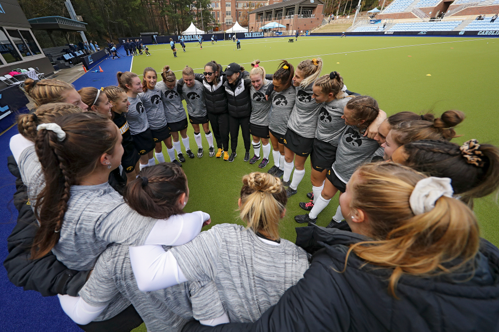 The Iowa Hawkeyes huddle before their NCAA Tournament Second Round match against North Carolina at Karen Shelton Stadium in Chapel Hill, N.C. on Sunday, Nov 17, 2019. (Stephen Mally/hawkeyesports.com)