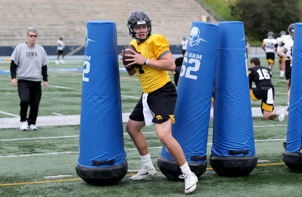 Iowa Hawkeyes quarterback Nate Stanley (4) during practice Sunday, December 22, 2019 at Mesa Community College in San Diego. (Brian Ray/hawkeyesports.com)