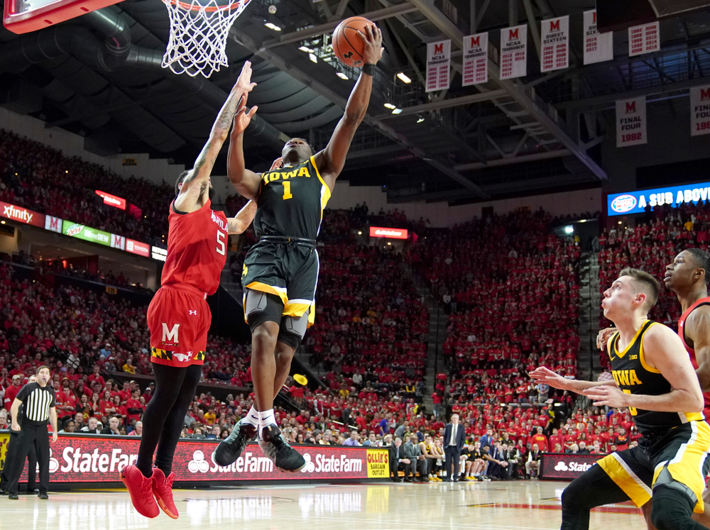 Iowa Hawkeyes guard Joe Toussaint (1) puts up a shot during their game at the Xfinity Center in College Park, MD on Thursday, January 30, 2020. (University of Maryland Athletics)