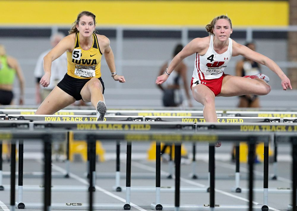 Iowa's Carly Donahue runs the women's 60 meter hurdles premier preliminary event during the Larry Wieczorek Invitational at the Recreation Building in Iowa City on Saturday, January 18, 2020. (Stephen Mally/hawkeyesports.com)