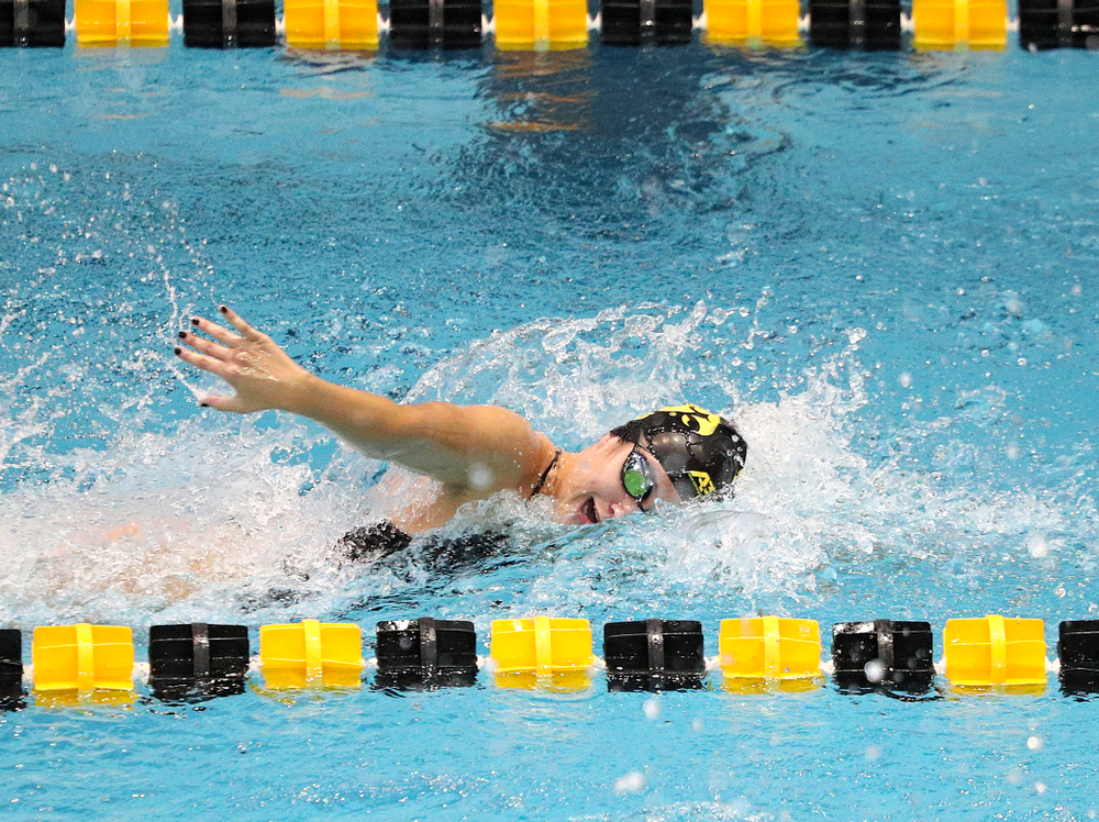 Iowa's Helena Blumenau swims the women's 100-yard freestyle event during their meet against Michigan State and Northern Iowa at the Campus Recreation and Wellness Center in Iowa City on Friday, Oct 4, 2019. (Stephen Mally/hawkeyesports.com)