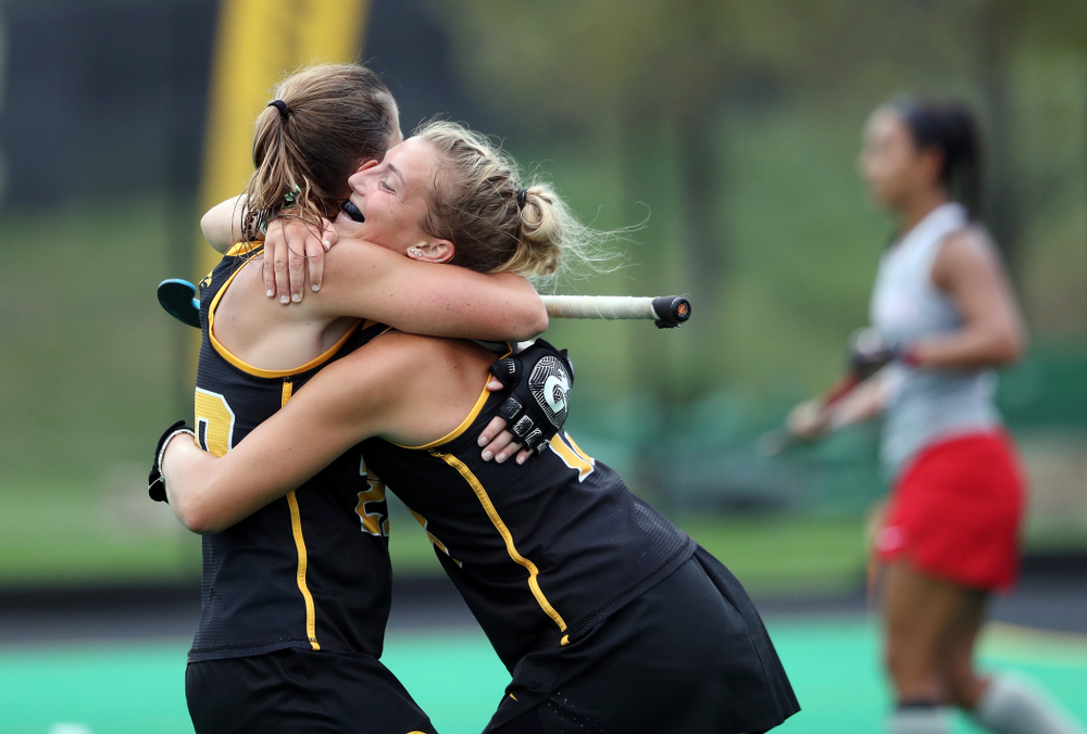 Iowa Hawkeyes forward Leah Zellner (13) celebrates with Sophie Sunderland (20) after scoring her second goal during a 2-1 victory against the Ohio State Buckeyes Friday, September 27, 2019 at Grant Field. (Brian Ray/hawkeyesports.com)