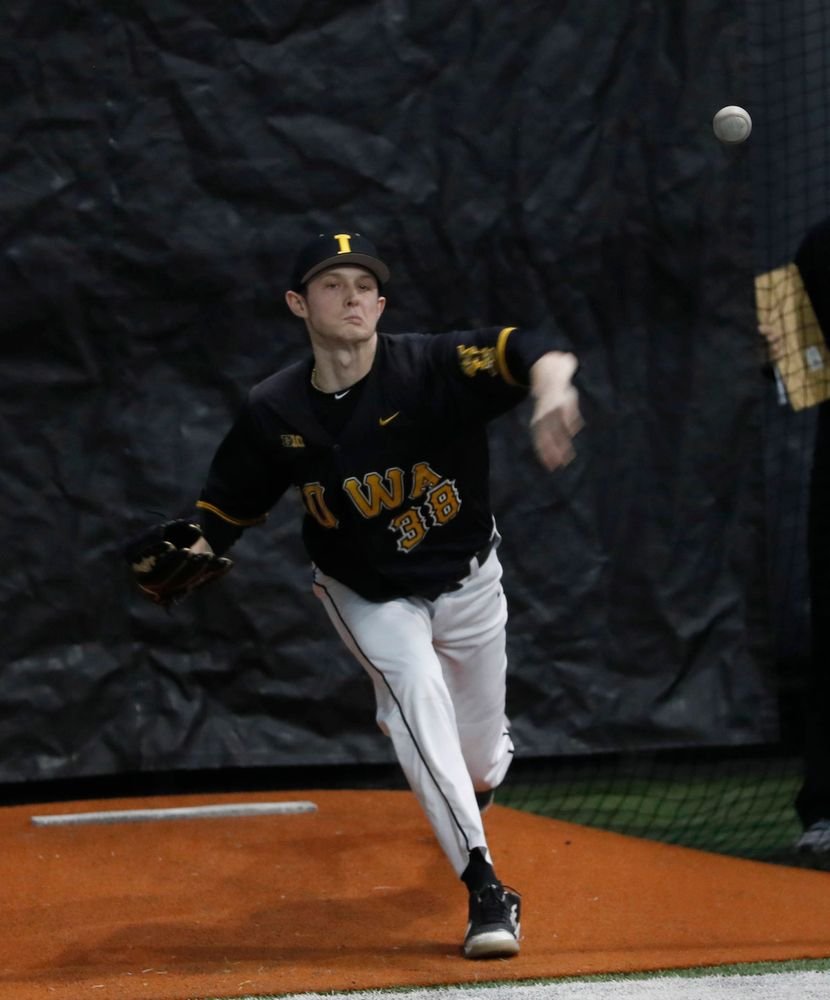 Trenton Wallace at first baseball practice on Jan. 25, 2019. (Darren Miller/hawkeyesports.com)