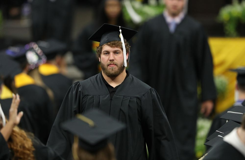 Hawkeye FootballÕs Brady Reiff during the College of Liberal Arts and Sciences spring commencement Saturday, May 11, 2019 at Carver-Hawkeye Arena. (Brian Ray/hawkeyesports.com)