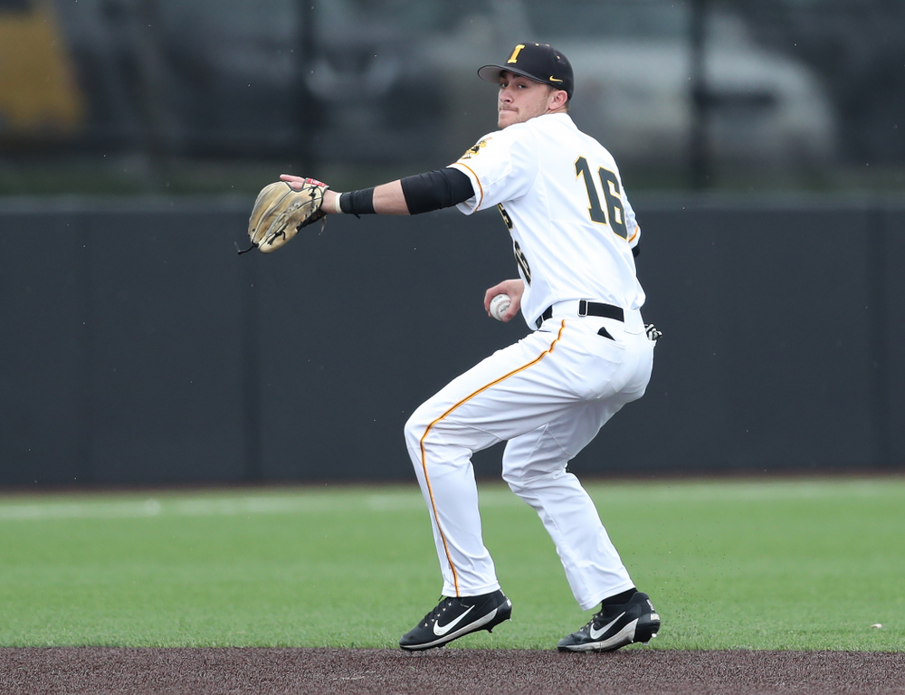 Iowa Hawkeyes Tanner Wetrich (16) against Michigan State Sunday, May 12, 2019 at Duane Banks Field. (Brian Ray/hawkeyesports.com)