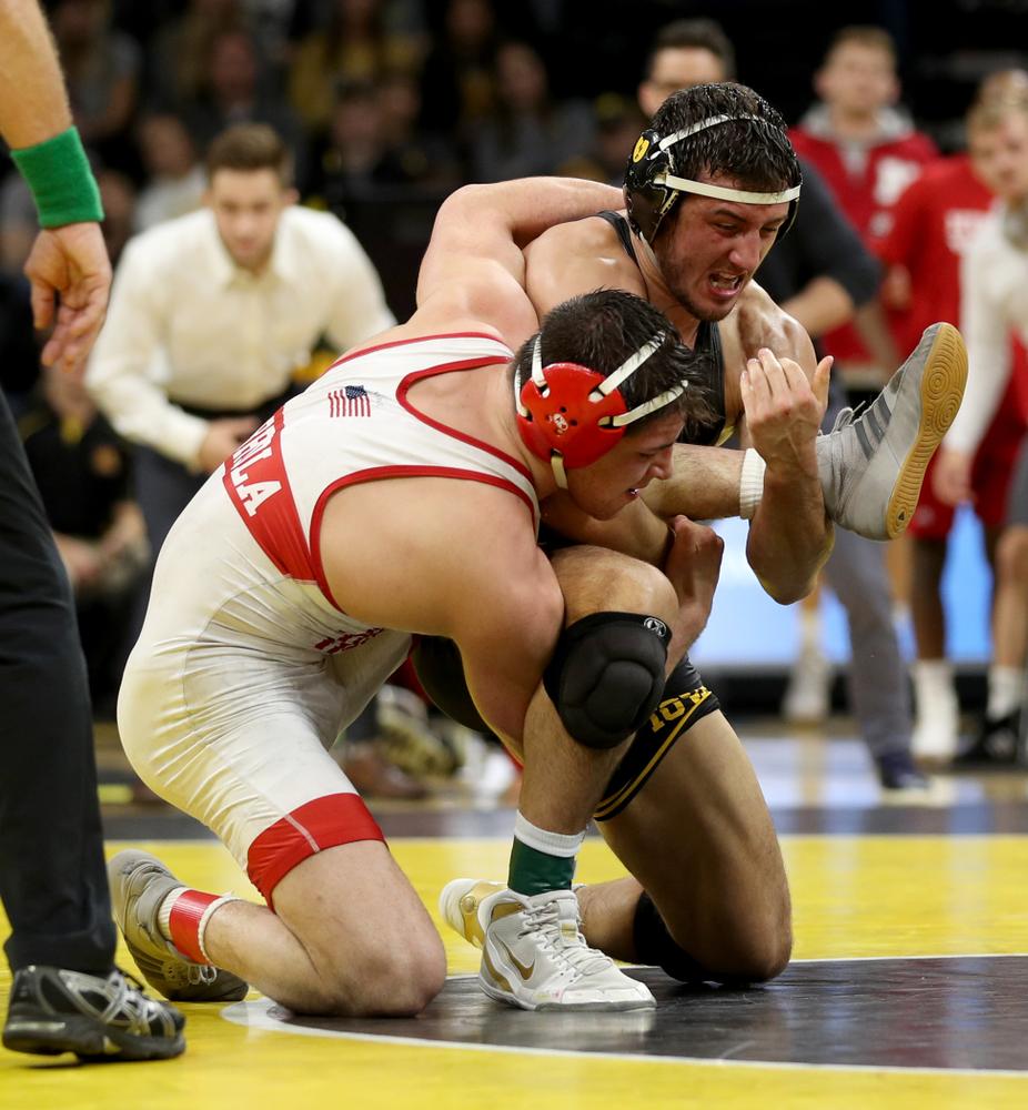 Iowa's Michael Kemerer wrestles Nebraska's Mickey Labriola at 174 pounds Saturday, January 18, 2020 at Carver-Hawkeye Arena. Kemerer won the match 3-1. (Brian Ray/hawkeyesports.com)