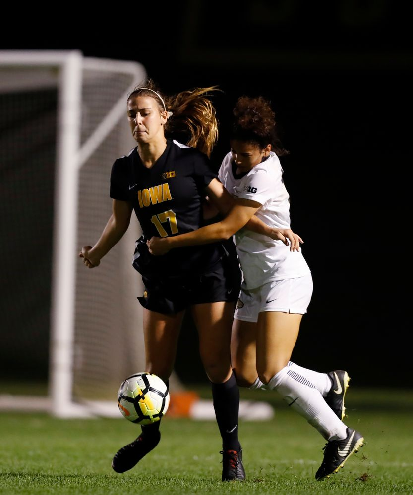 Iowa Hawkeyes Hannah Drkulec (17) against the Purdue Boilermakers Thursday, September 20, 2018 at the Iowa Soccer Complex. (Brian Ray/hawkeyesports.com)