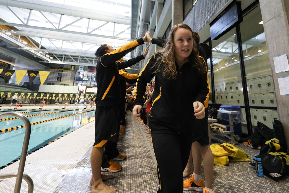 Natalie McGovern is introduced during senior day before a double dual against Wisconsin and Northwestern Saturday, January 19, 2019 at the Campus Recreation and Wellness Center. (Brian Ray/hawkeyesports.com)