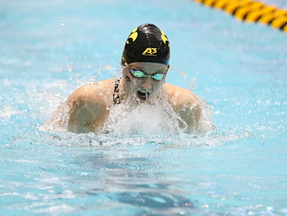 Iowa's Aleksndra Olesiak swims the breaststroke section of the women's 400 yard medley relay event during the 2020 Women's Big Ten Swimming and Diving Championships at the Campus Recreation and Wellness Center in Iowa City on Thursday, February 20, 2020. (Stephen Mally/hawkeyesports.com)